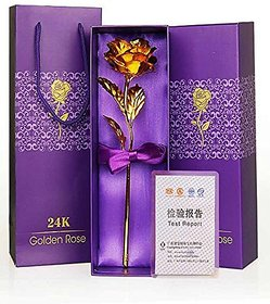 Agarwal Trading Corporation 24K Golden Rose 10 INCHES With Gift Box - Best Gift For Loves Ones Valentine's Day Mother'