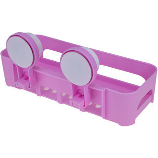 AVMART KITCHEN and BATHROOM DUAL CADDY / SHELVE - Strong Suction Shower Caddy Bathroom Shelf Storage Organization Pink