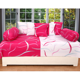 ZAIN Cotton Diwan Set Of 8 Pcs. (1 Single Bed Sheet, 5 Cushion Cover And 2  Bolster Covers, Exclusive Design)