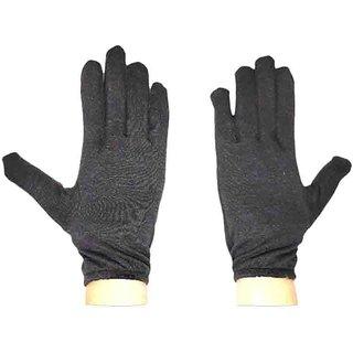 Tahiro Black Cotton Full Finger Gloves  - Pack Of 1