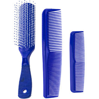 AVMART Paddle Brush Women Hair comb Set of 3 ( BLUE ) ( AHAIRCOMBBLUE )