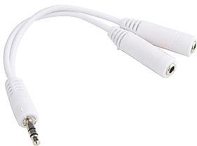 Splitter Audio Aux Cable 3.5MM Jack Headphone for iPod, Mobile, Pc, Mp3 High Quality Product Random Colour