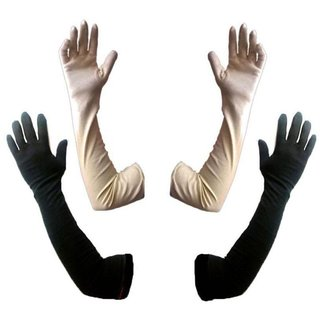 Tahiro Black  Beige Cotton Full Length Gloves - Pack Of 2