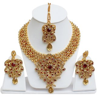 Lucky Jewellery Designer Golden Maroon Color Gold Plated Stone Necklace Set For Girls & Women