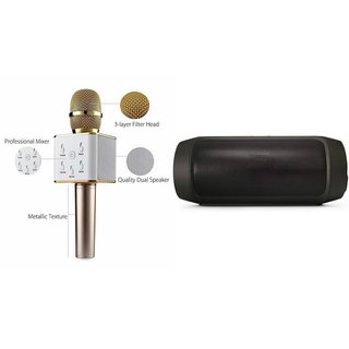 Zemini Q7 Microphone and Charge K3 Bluetooth Speaker for HTC DESIRE 610 DUAL SIM(Q7 Mic and Karoke with bluetooth speaker | Charge K3 Plus Bluetooth Speaker )