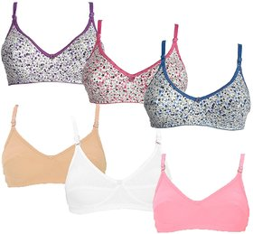 Pack of 6 Sparkle Multicolour Full Cup Non Padded Non Wired Cotton Bra