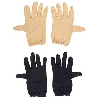 Tahiro Black N Beige Cotton Full Finger Gloves For Men- Pack Of 2