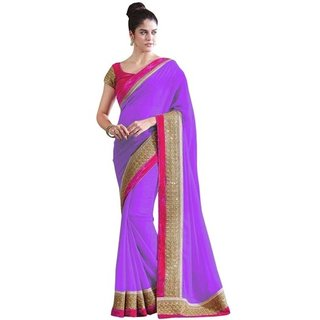 SUDARSHAN GEORGETTE PRINTED LACE BORDER SAREE-Purple-NCF148-VR-Georgette