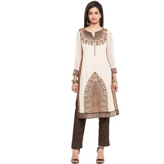 SUDARSHAN DESIGNER KURTI FOR WOMEN-White-NKC1713-VS-Faux Georgette