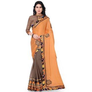 Indian Women Satin Chiffon and Georgette Orange and Grey Color Half-Half sari-Orange-INWGA20215-MM-Chiffon