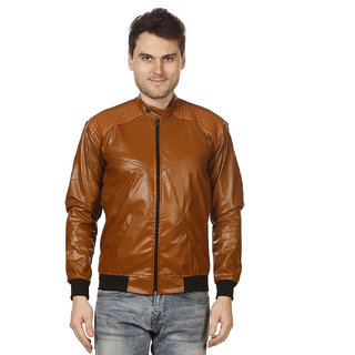 Trustedsnap casual Pu jacket For Men's(TAN)
