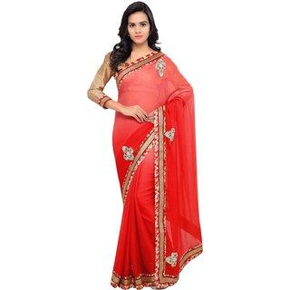 INDIAN WOMEN pink and red Color moss chiffon sari-Pink-INWGA20418-MM-Chiffon