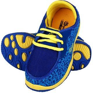 Myau Boys & Girls Velcro Sneakers (Blue Yellow)