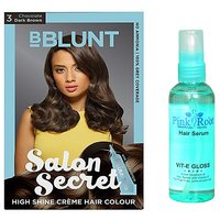 BBLUNT Chocolate Dark Brown No. 3 100gm and Pink Root Hair Serum 100ml Pack of 2