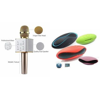 Zemini Q7 Microphone and Rugby Bluetooth Speaker for MICROMAX BOLT A82(Q7 Mic and Karoke with bluetooth speaker   Rugby Bluetooth Speaker )