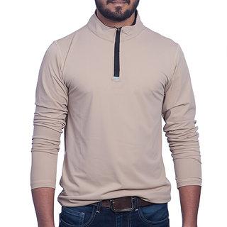 Styleco Turtle Neck Beige Slim Filt Full Sleeve T-shirt For Men's