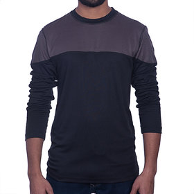 Styleco Round Neck Black  Grey  Slim Filt  Full Sleeve T-shirt For Men's