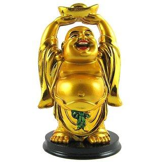 Standing Golden Laughing Buddha Lifting Gold Ingot