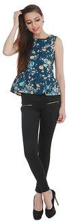 Klick2Style Women's Crepe Dark Blue Top