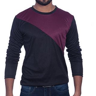 Styleco Round Neck Black  Maroon  Slim Filt  Full Sleeve T-shirt For Men's