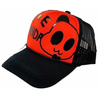 Friendskart Half Net Baseball Cap In Red Colour Front Side Prited I Love Panda For Mens, Boys, Girls And Womens Cap