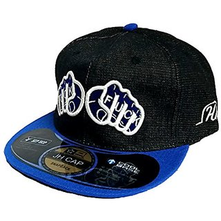 Friendskart Hip Hop Denim Cap In Black Colour Front Side Two Punches Sign Fuck Cap For Boys And GIrls Cap