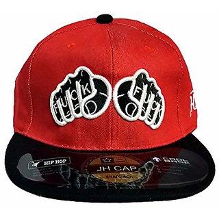 Friendskart Red Denim Punch Fuck Hip Hop Cap, Girls And Boys Cap