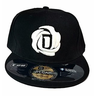 Friendskart Black Colour Hip Hop Front Side Embroidered Rose In White Colour For Boys And Girls Cap