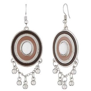 JewelMaze Rhodium Plated Brown Meenakari Afghani Earrings