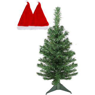Foldable Christmas Tree  2 Santa Red Cap For Christmas Dcor-12 Inches Tree  Free Size Red Santa Cap, Artificial Chri