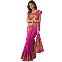 Bhuwal Fashion Pink Plain Polycotton Saree With Blouse