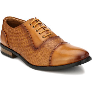Prolific Tan Synthetic Leather Derbys Lace-Ups Formal Shoes