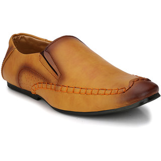 Prolific Tan Synthetic Leather Slip-On Shoess Slip-On Formal Shoes