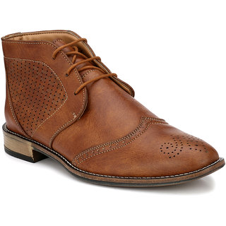 Prolific Tan Synthetic Leather Boots Lace-Ups Formal Shoes