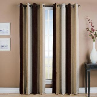 Famekart Royal Multi Shade Brown Cream White Stripped Pattern Long Door Curtain Pack Of 2