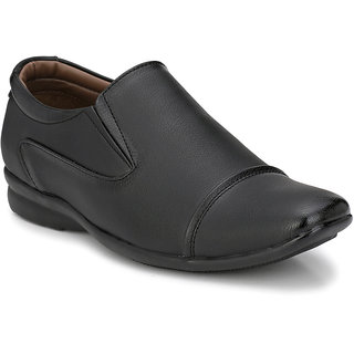 Prolific Black Synthetic Leather Slip-On Shoess Slip-On Formal Shoes