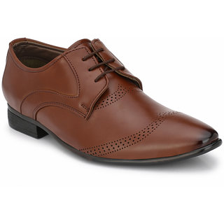 Prolific Tan Synthetic Leather Derbys Lace-Ups Shoes
