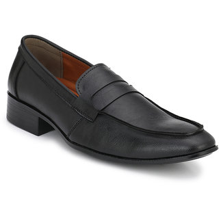 Prolific Black Synthetic Leather Slip-On Shoess Slip-On Shoes