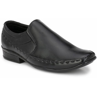 Prolific Black Leather Slip-On Shoess Slip-On Shoes
