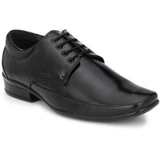 Prolific Black Leather Derbys Lace-Ups Shoes