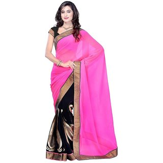 DBPink And Black Georgette Embroidered Designer