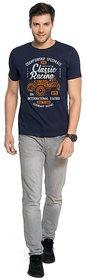 Zorchee Men's Round Neck Half Sleeves Printed Cotton T-Shirts - Navy Blue
