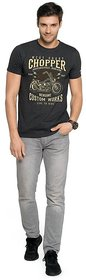 Zorchee Men's Round Neck Half Sleeves Printed Poly-Cotton T-Shirts - Charcoal Melange