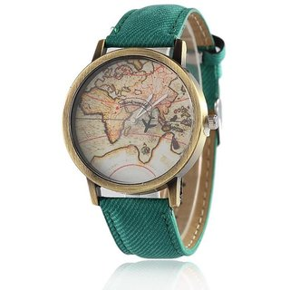 Buy febo india mini world map unisex stylish denim wrist watchbrown febo india mini world map unisex stylish denim wrist watchbrown map green gumiabroncs Images