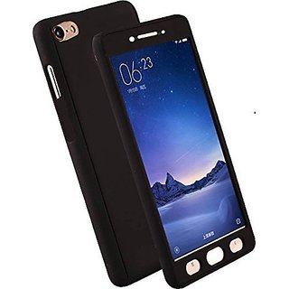 MOBIMON 360 Degree Full Body Protection Front Back Case Cover (iPaky Style) with Tempered Glass for Oppo A37 (Black)