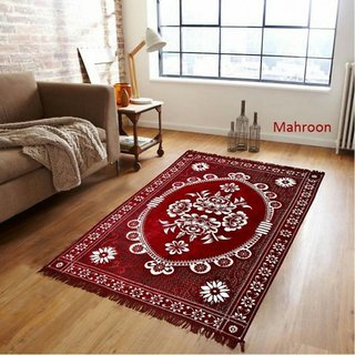 Manvi Creations Maroon chenille carpet
