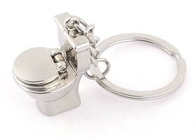 Metal Potty box Toilet seat Keychain (Silver)