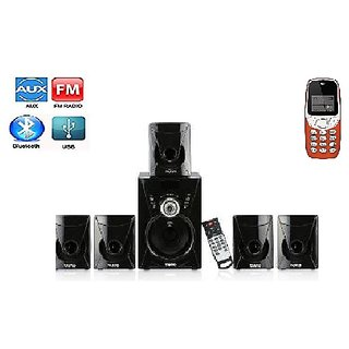 Combo of I KALL K71 5.1 Bluetooth Home Theater System with Basic Feature Mobile Phone (1 Year Manufacturer Warranty)