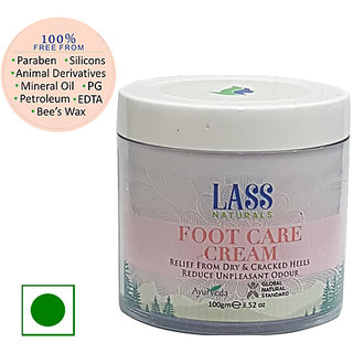 Lass Naturals Foot Care Cream - Ayurvedic Formula for Healing Soothing of Cracked Heals 100 g - Skin Care