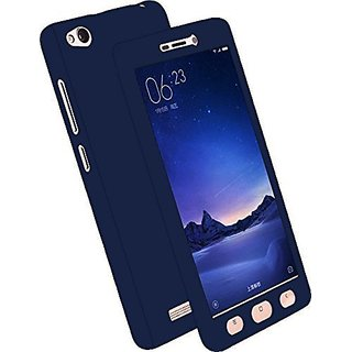 MOBIMON 360 Degree Full Body Protection Front Back Case Cover (iPaky Style) with Tempered Glass for Oppo A57 Blue